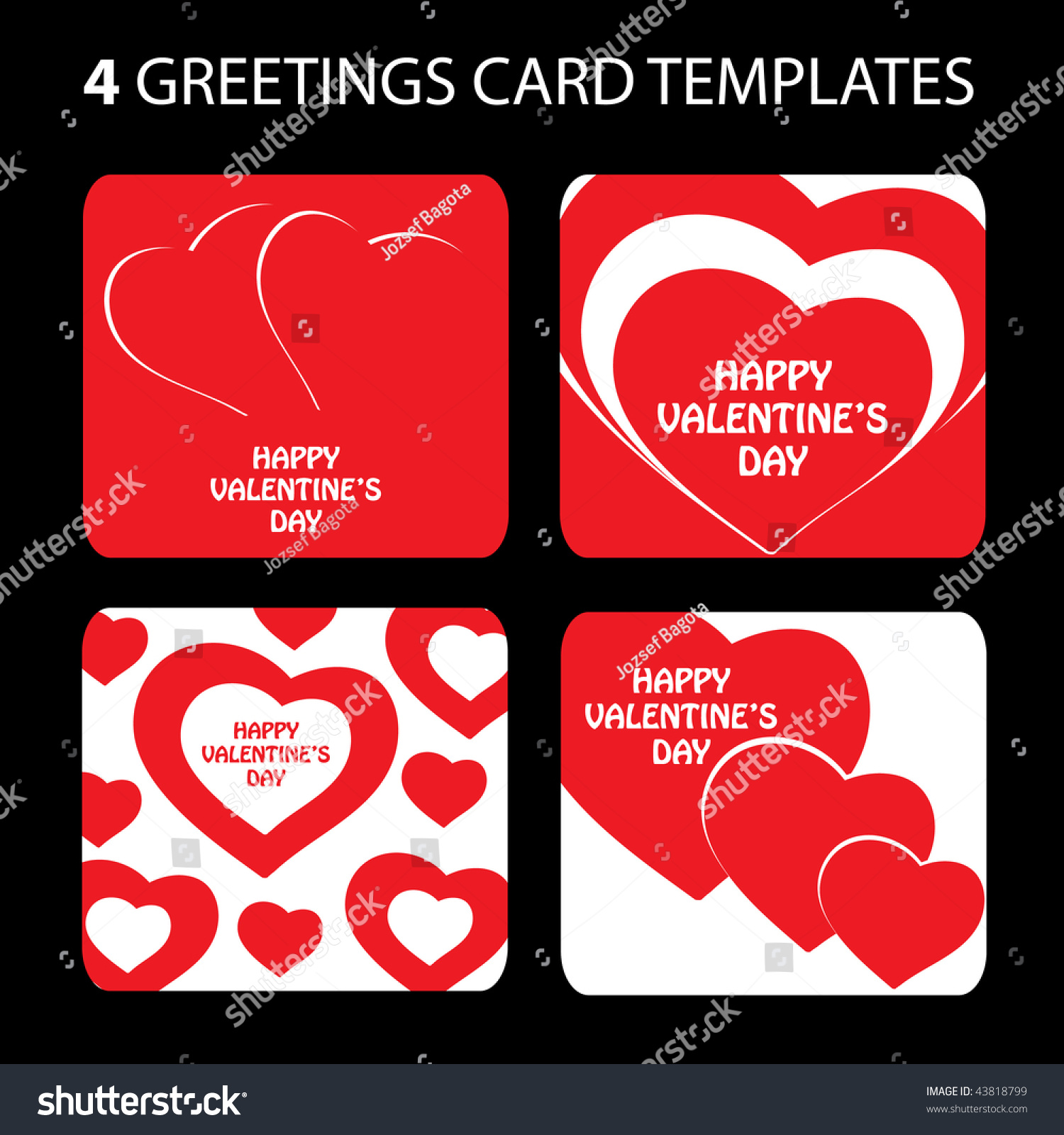 4 Greeting Cards Valentines Day Stock Vector 43818799 Shutterstock