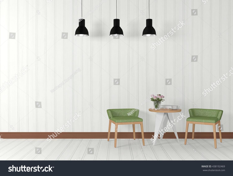 White Modern Design Living Room Interior Stock Illustration ...