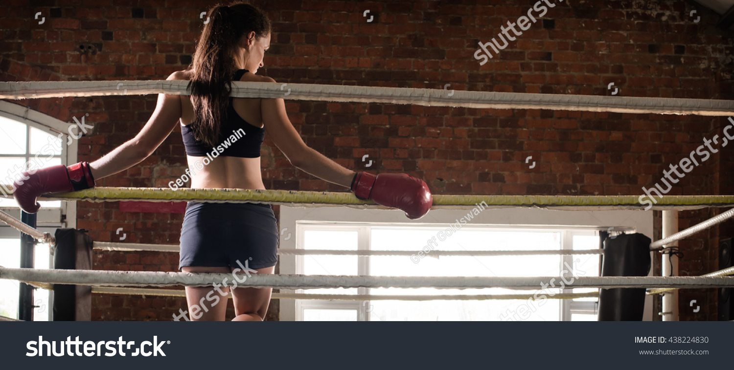 Woman Training Gym Boxing Mma Ring Stock Photo (Edit Now