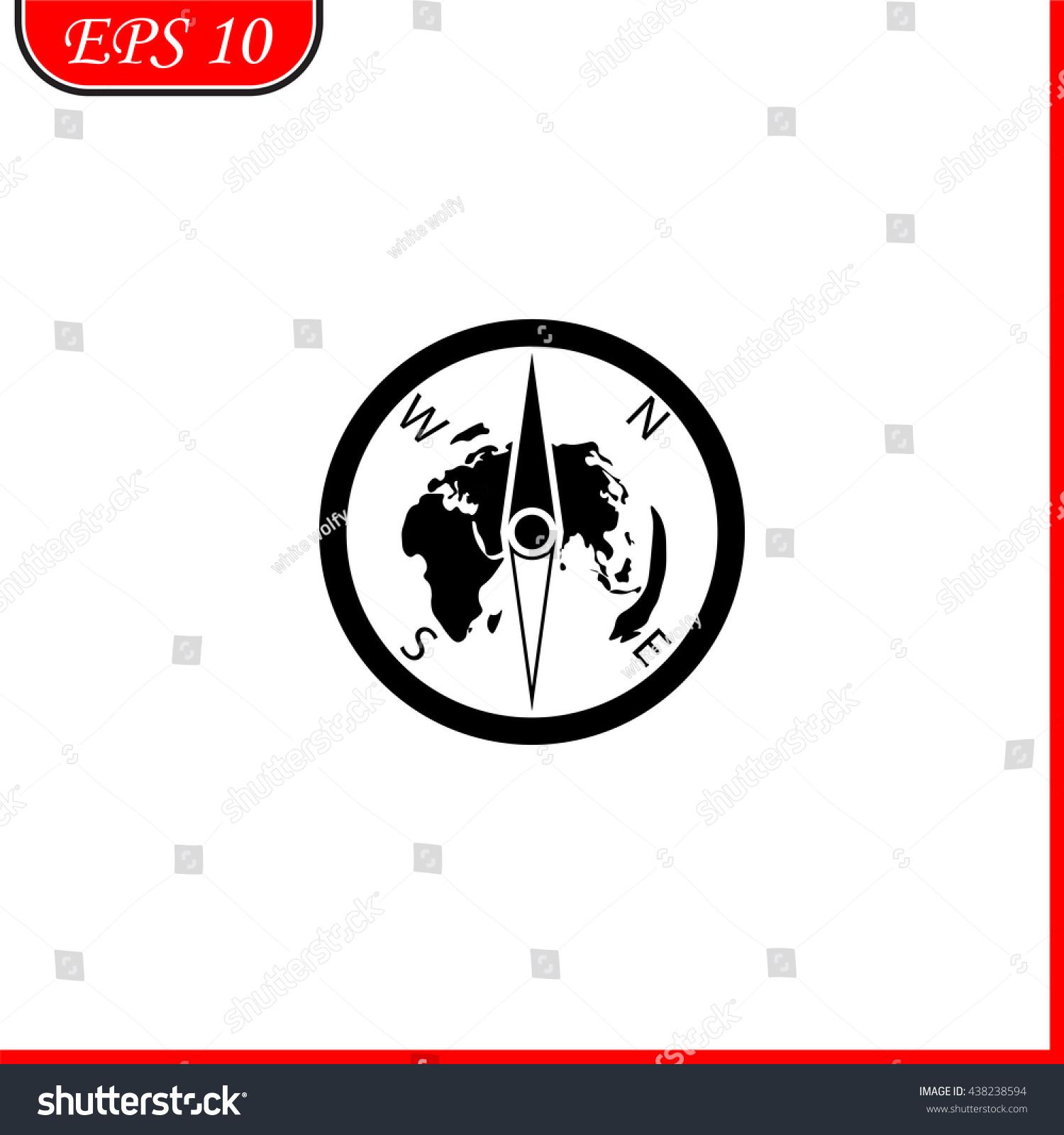 Pictograph Compass Icon Simple Black Vector Stock Vector Royalty