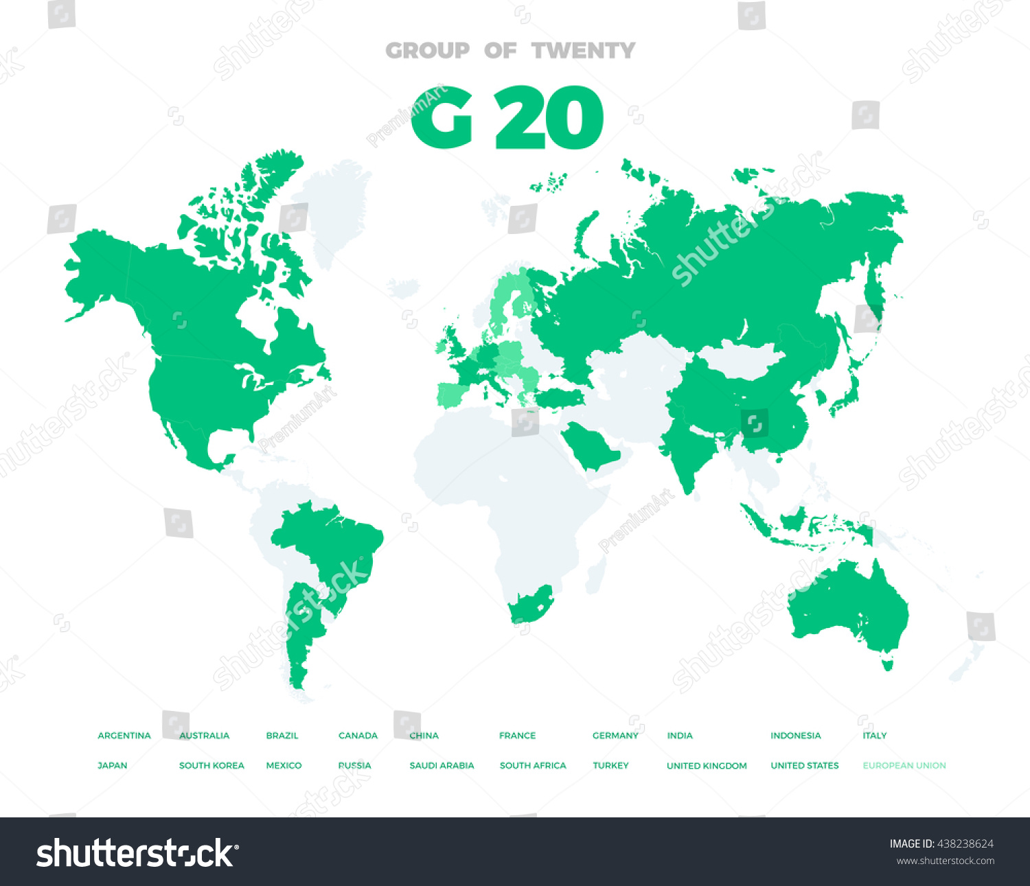 Group twenty countries on world map stock vector hd royalty free group of twenty countries on world map vector template g20 infographic design illustration gumiabroncs Images