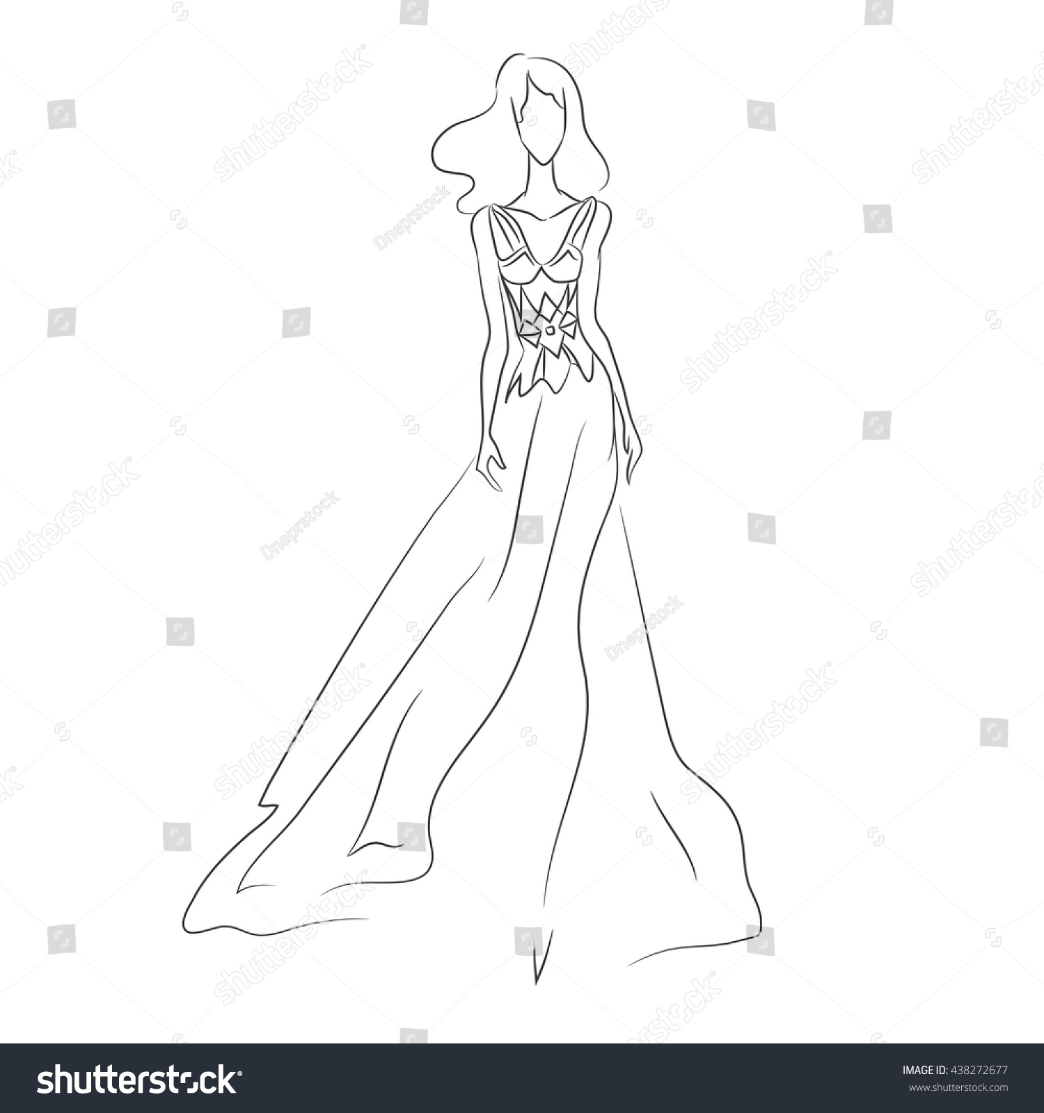 Vector Illustration Beautiful Womans Silhouette Dress Stock Vector ...