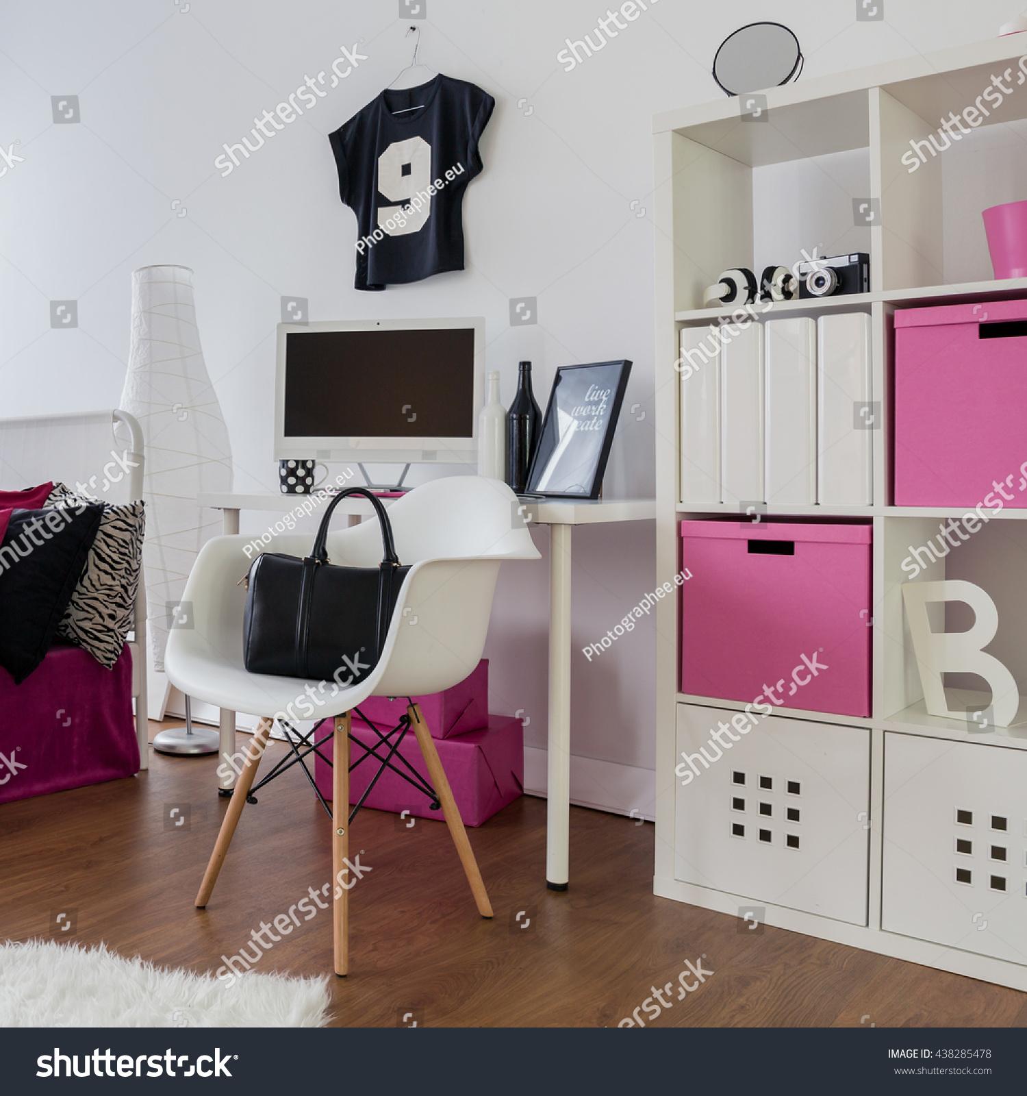 Spacious Pink White Black Room Girl Stock Shutterstock