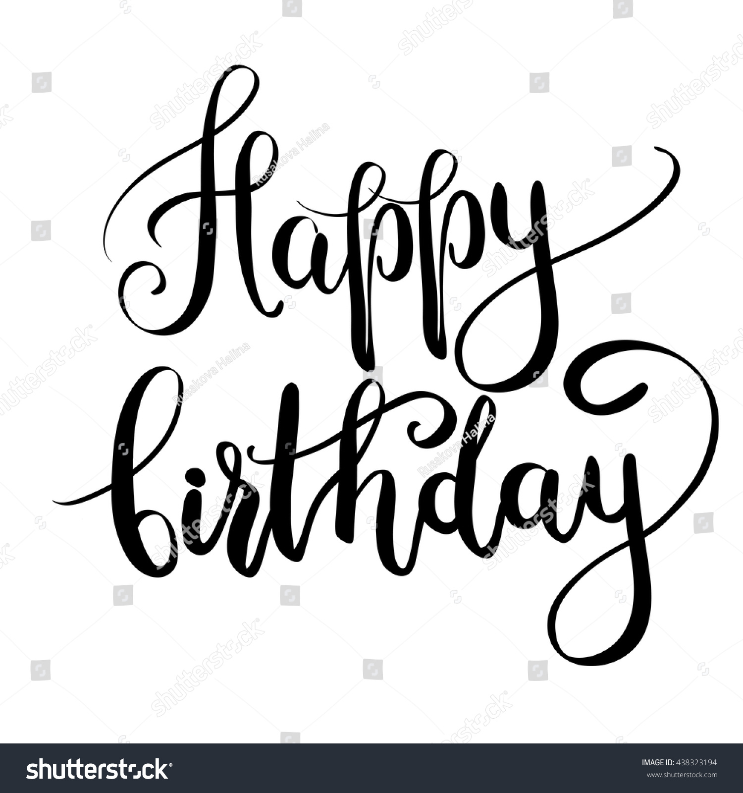 Happy Birthday Inscription Greeting Card Calligraphy Vector – Black and White Birthday Card