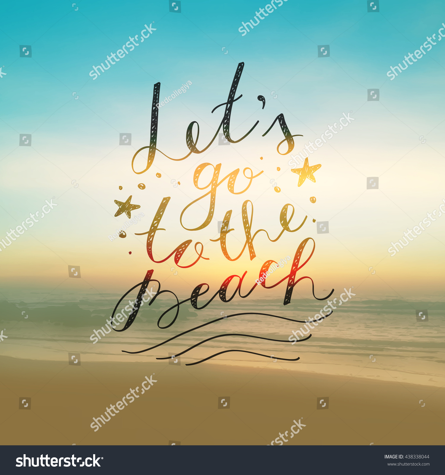 lets go to the beach lettering on seascape background stock photo 438338044 shutterstock. Black Bedroom Furniture Sets. Home Design Ideas