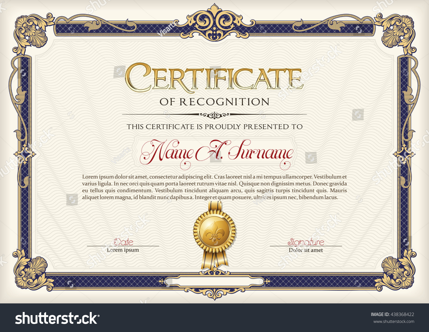 Certificate Recognition Vintage Frame Stock Vector Royalty Free