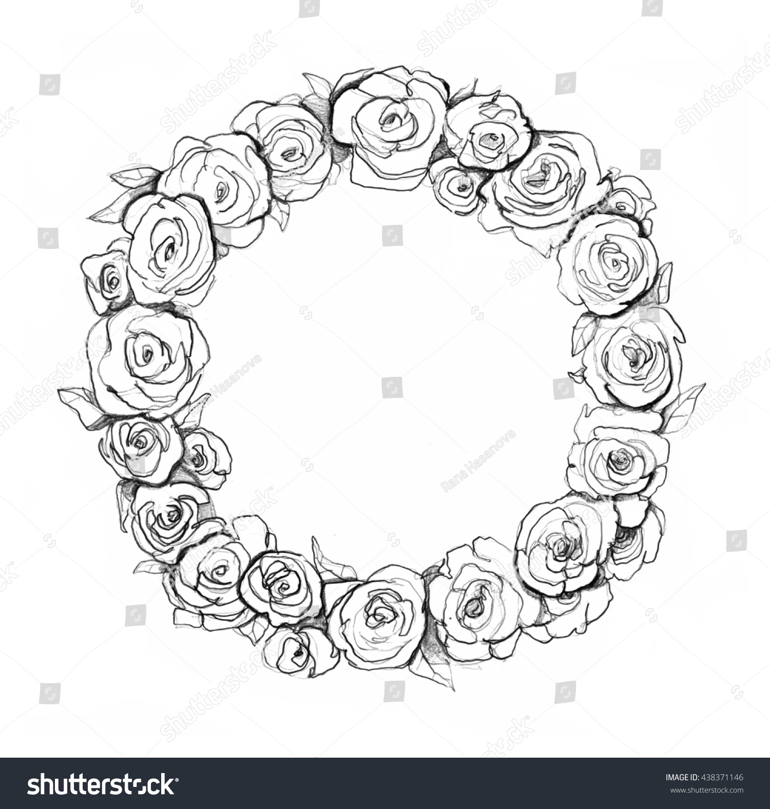 Simple Circle Drawn RosesCirclePrintable Coloring Pages Free