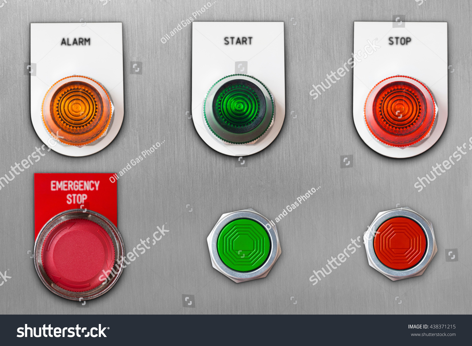 Emergency stop icon clipart emergency off - Push Button Switch With Emergency Stop And Start Stop Alarm Lamp Signal On Stainless Steel Panel
