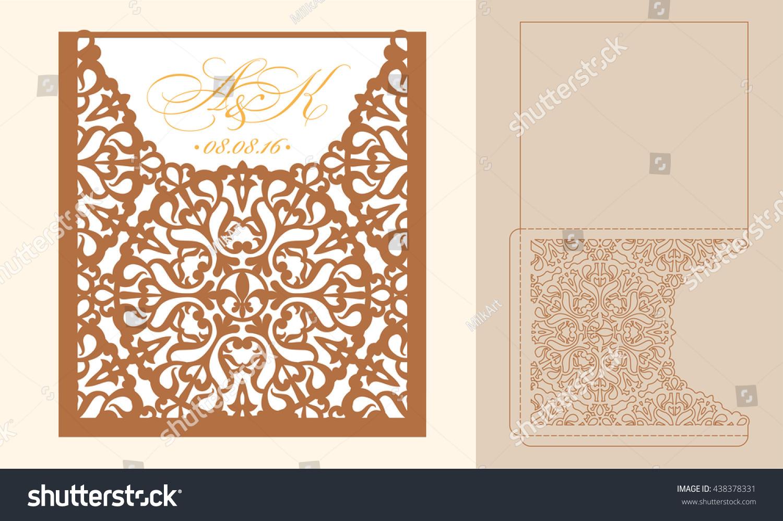 Lazercut vector wedding invitation template wedding stock vector.