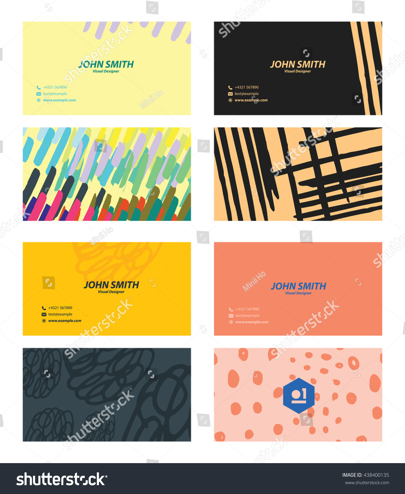 Cute Colorful Business Card Set Stock Vector Shutterstock