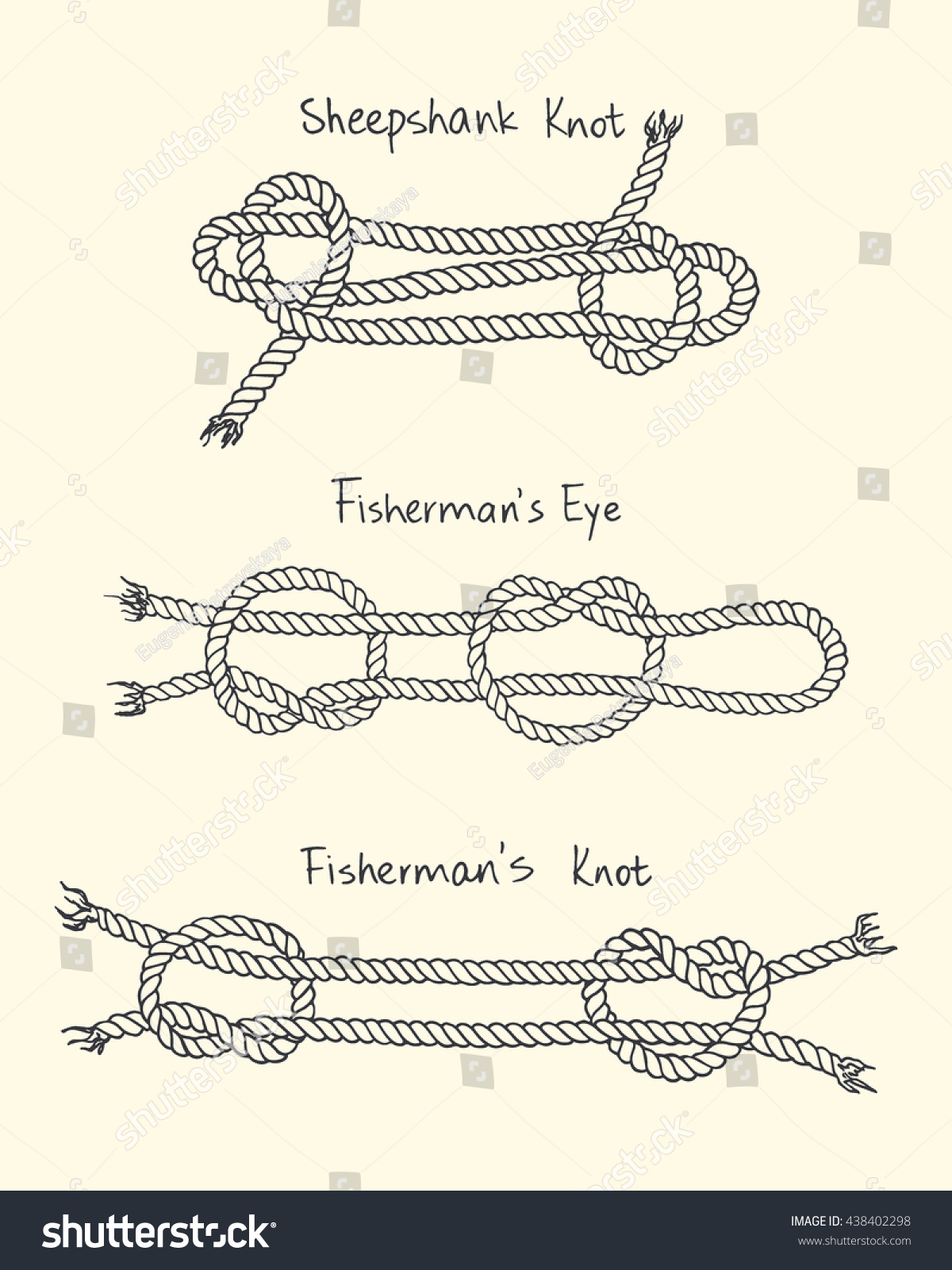 Hand Drawn Nautical Knot Set Made Stock Vector Royalty Free