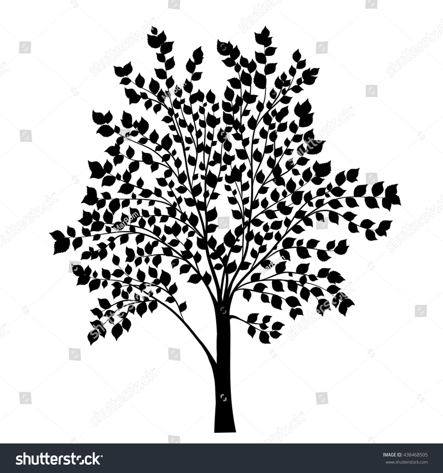tree leaves silhouette vector stock vector 438468505