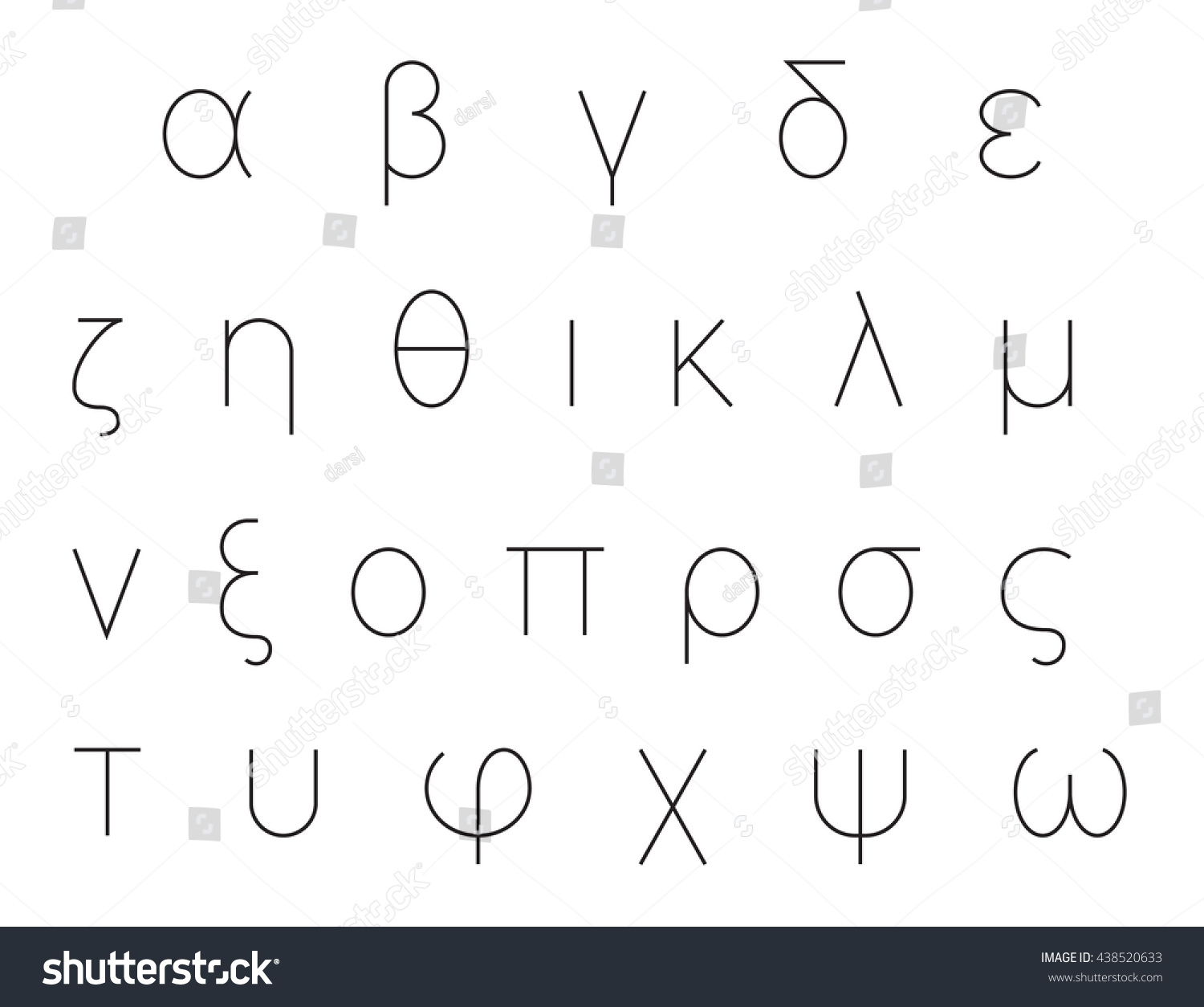 Greek alphabet letters font set outlined stock vector 438520633 greek alphabet letters font set outlined black isolated on white background vector publicscrutiny Image collections