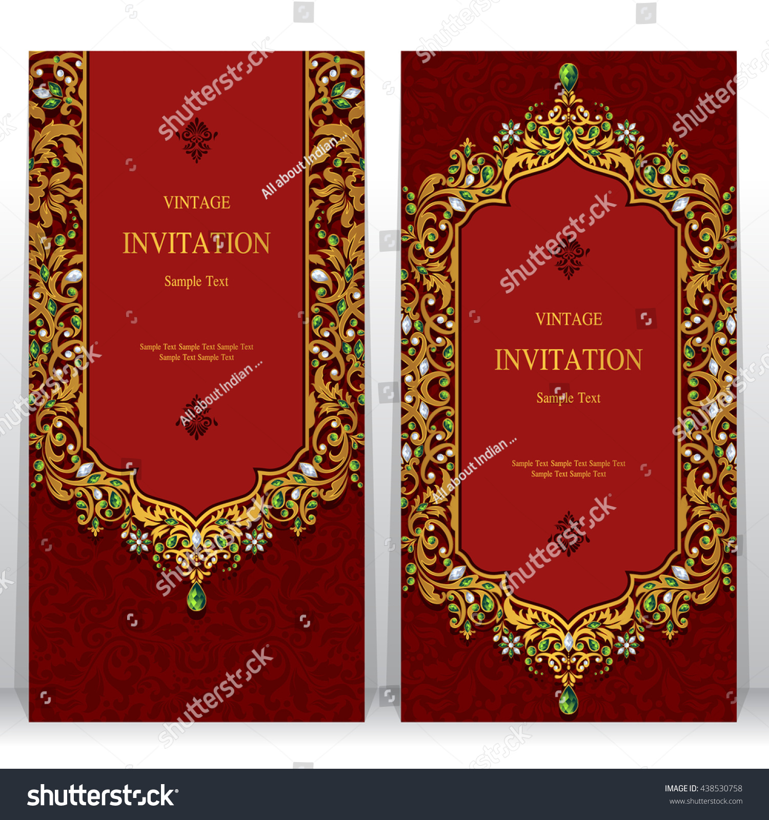 Royalty-free Wedding invitation or card with… #438530758 Stock Photo ...