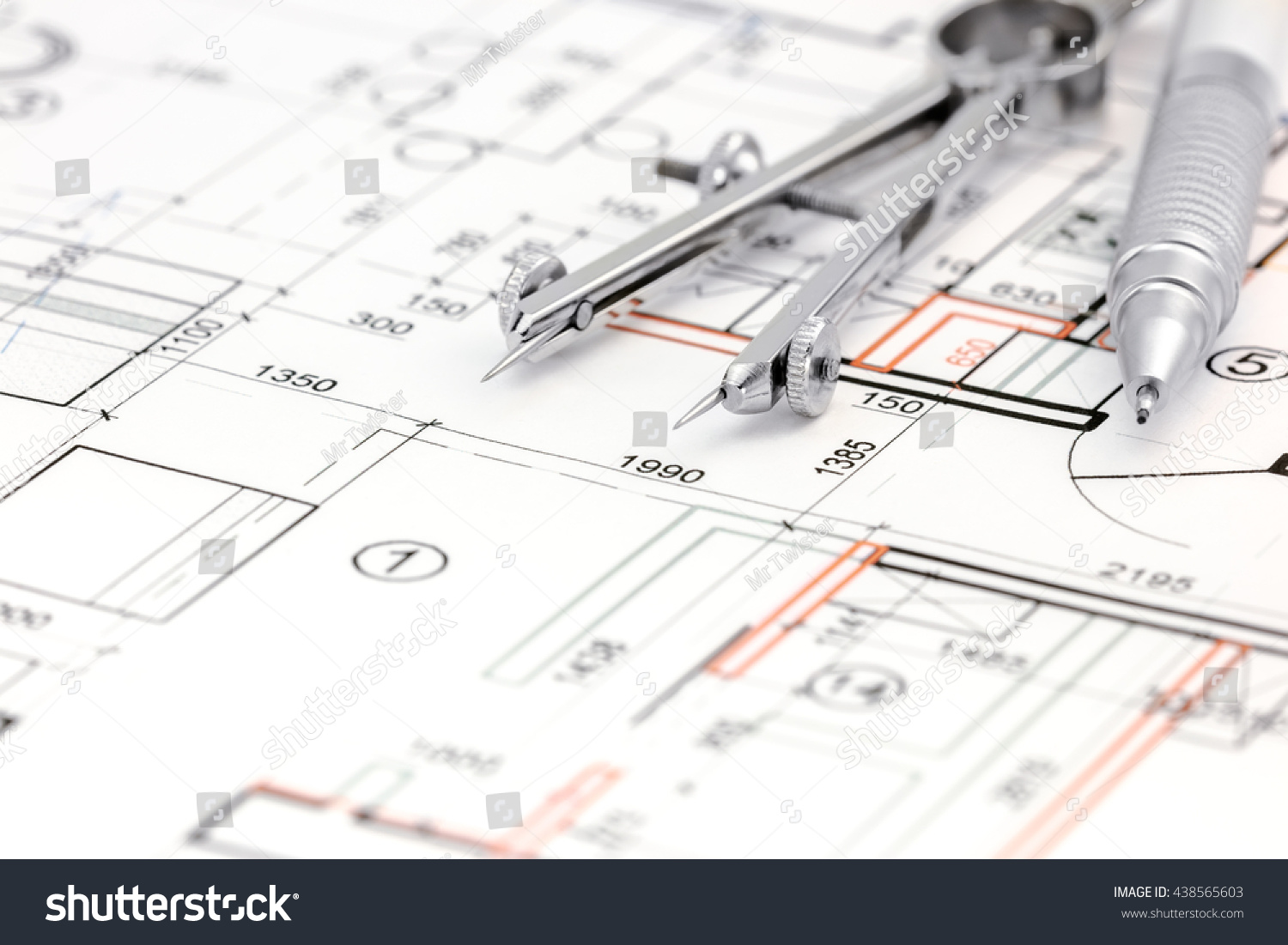 Architectural Drawings Floor Plan With Drawing Compass And Pencil Diagram Id 438565603