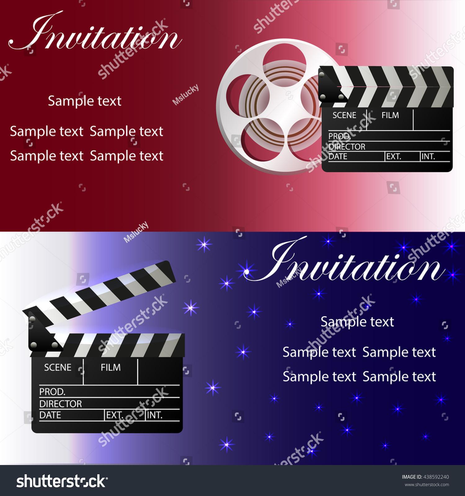 Movie concept template movie clapper movie stock photo photo movie concept template with movie clapper movie reel two variants of invitation stopboris Gallery