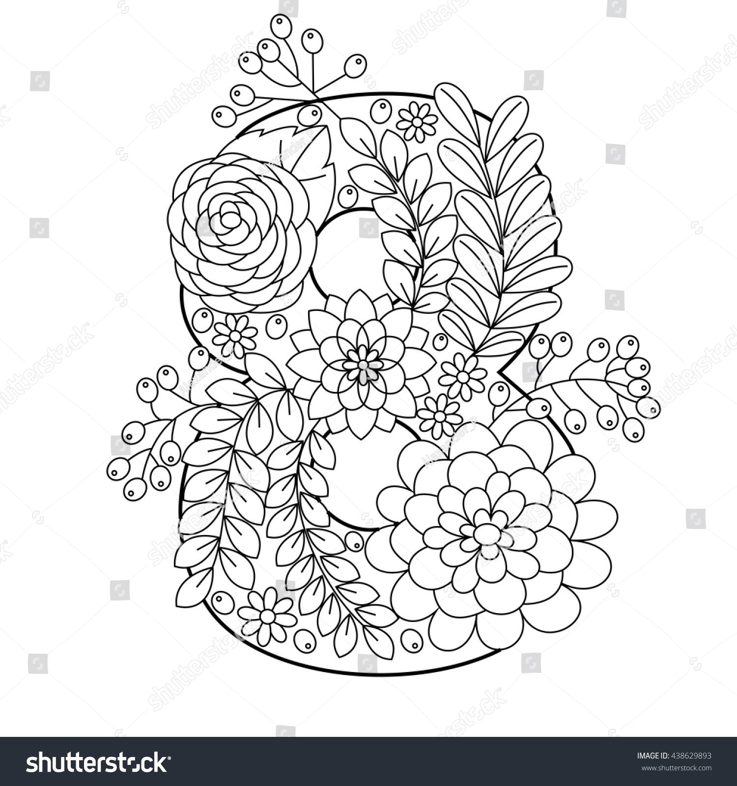 Floral Alphabet Number Coloring Book Adults Stock Vector