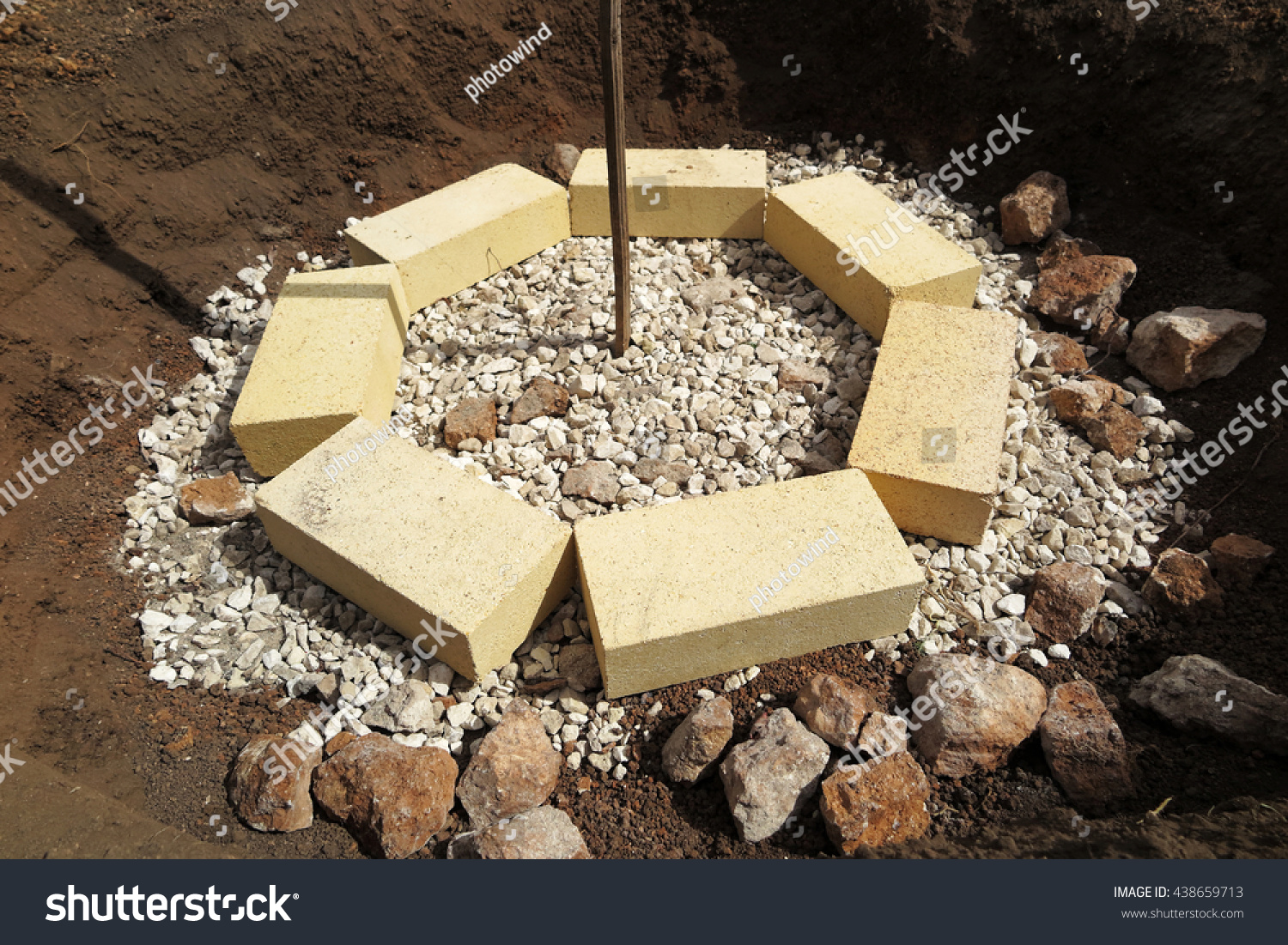 Step by step making fire pit stock photo 438659713 for Step by step fire pit