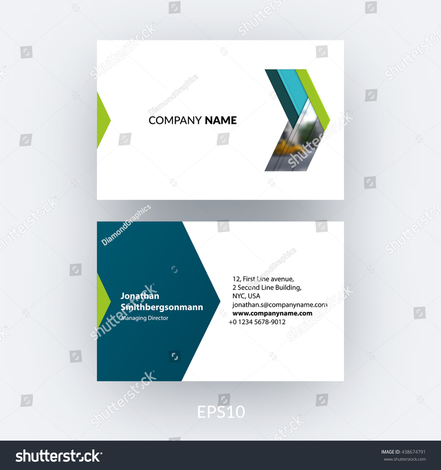 business card template blue abstract arrow stock vector