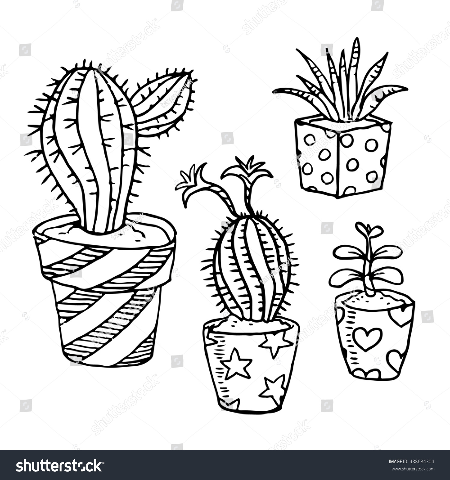 Illustration Cactus Succulent Outline Drawing Collection Stock Illustration 438684304