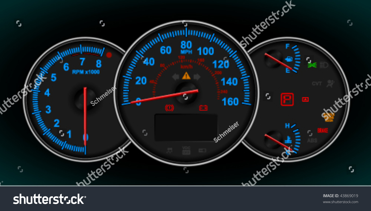 rpm gauge vector. speedometer and rpm gauge cluster (dashboard) vector. also available in raster. rpm vector p