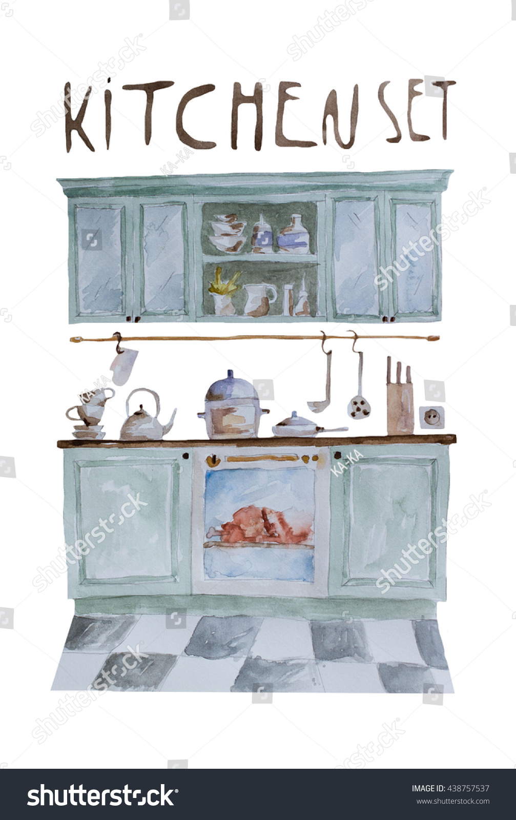 Hand Paint Watercolor Kitchen Set Pattern Stock Illustration ...