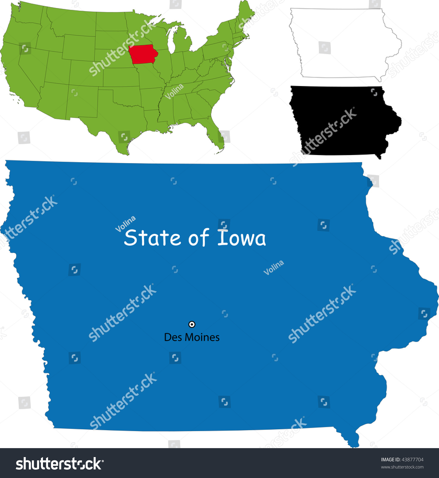 Map Of State Of Iowa Usa Iowa State Map With Corn Field Vector - Iowa state in usa map