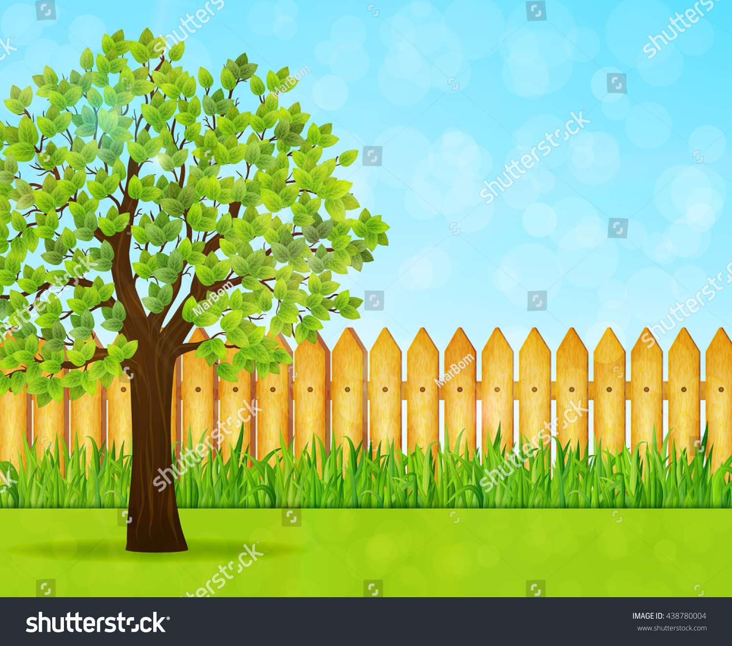 Wooden picket fence transparent backgroundgarden and gardening - Garden Background With Green Tree And Wooden Fence Vector