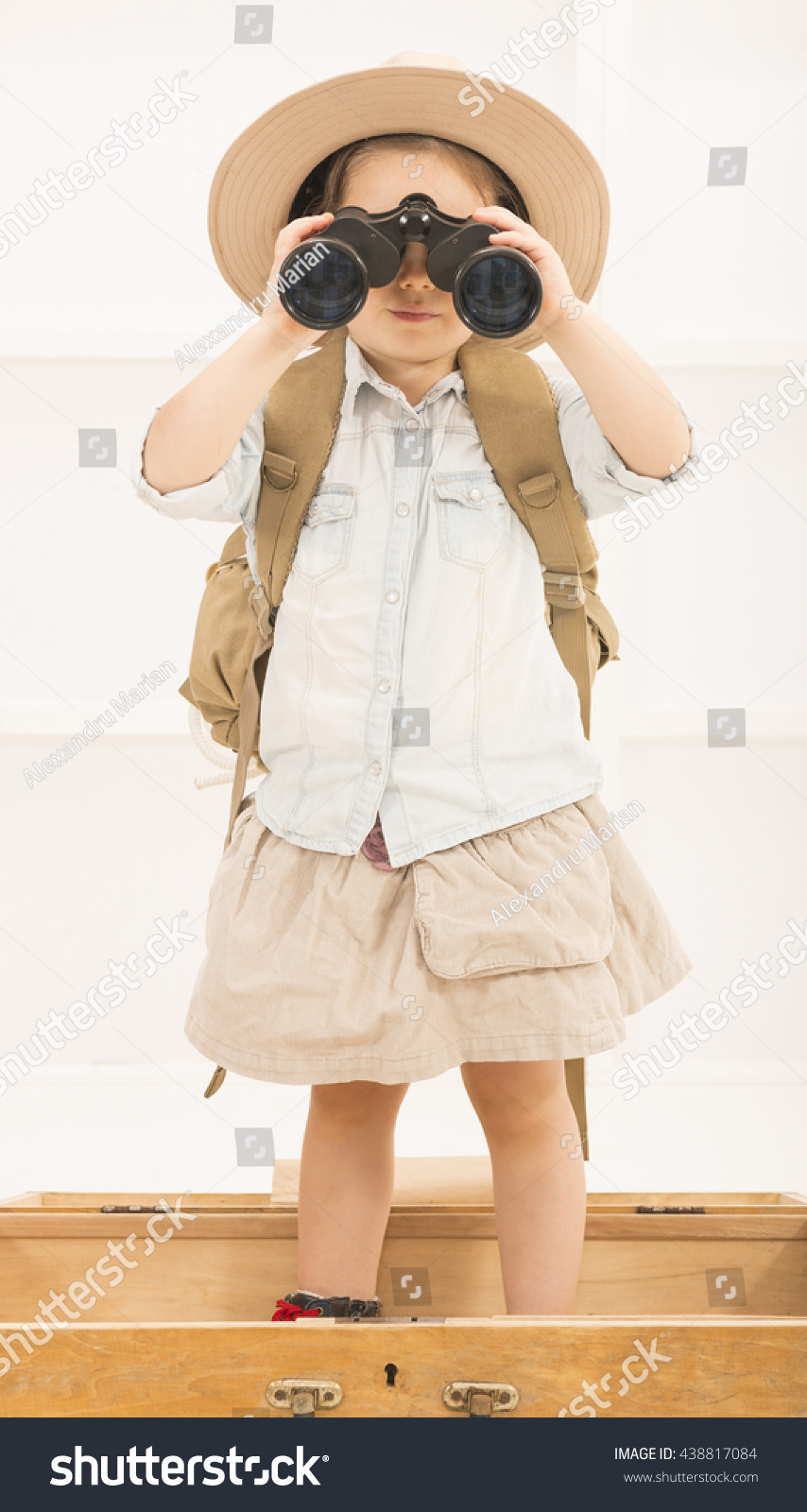 adorable little explorer safari hat stock photo 438817084