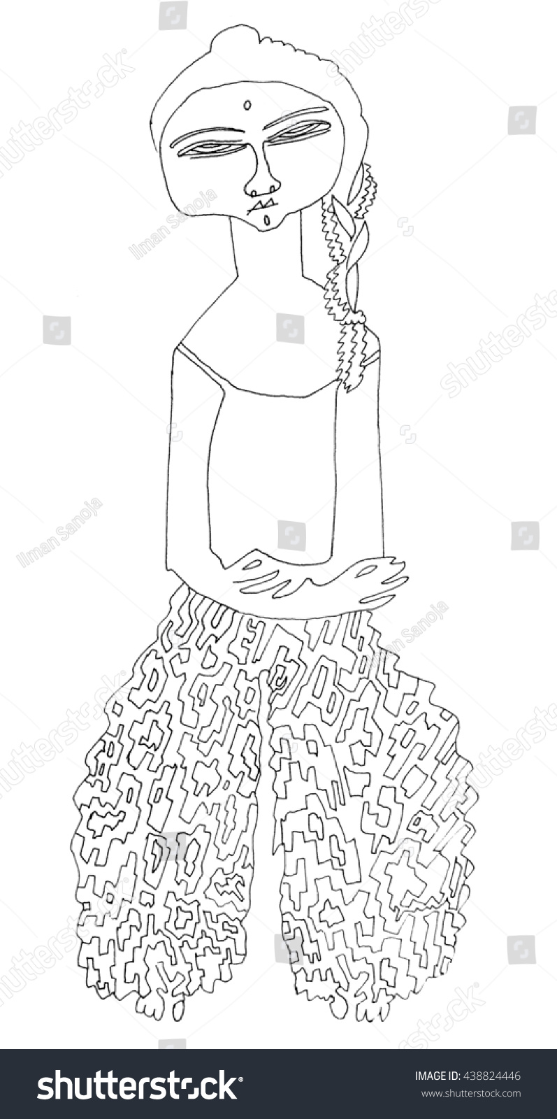 Eastern Woman Wide Pants Coloring Page Stock Illustration 438824446 ...