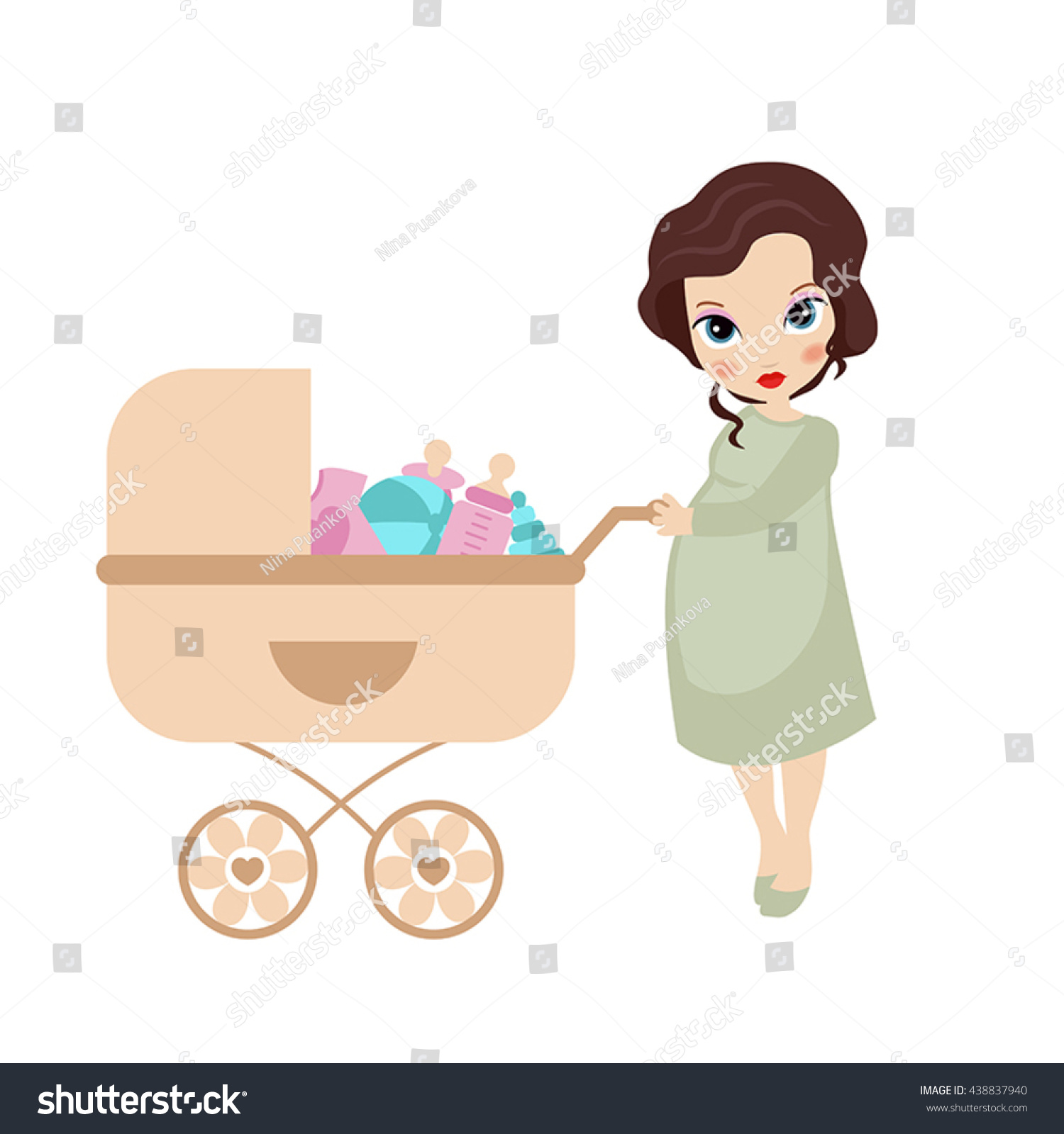Vector Illustration Pregnant Woman Vintage Baby Stock ...