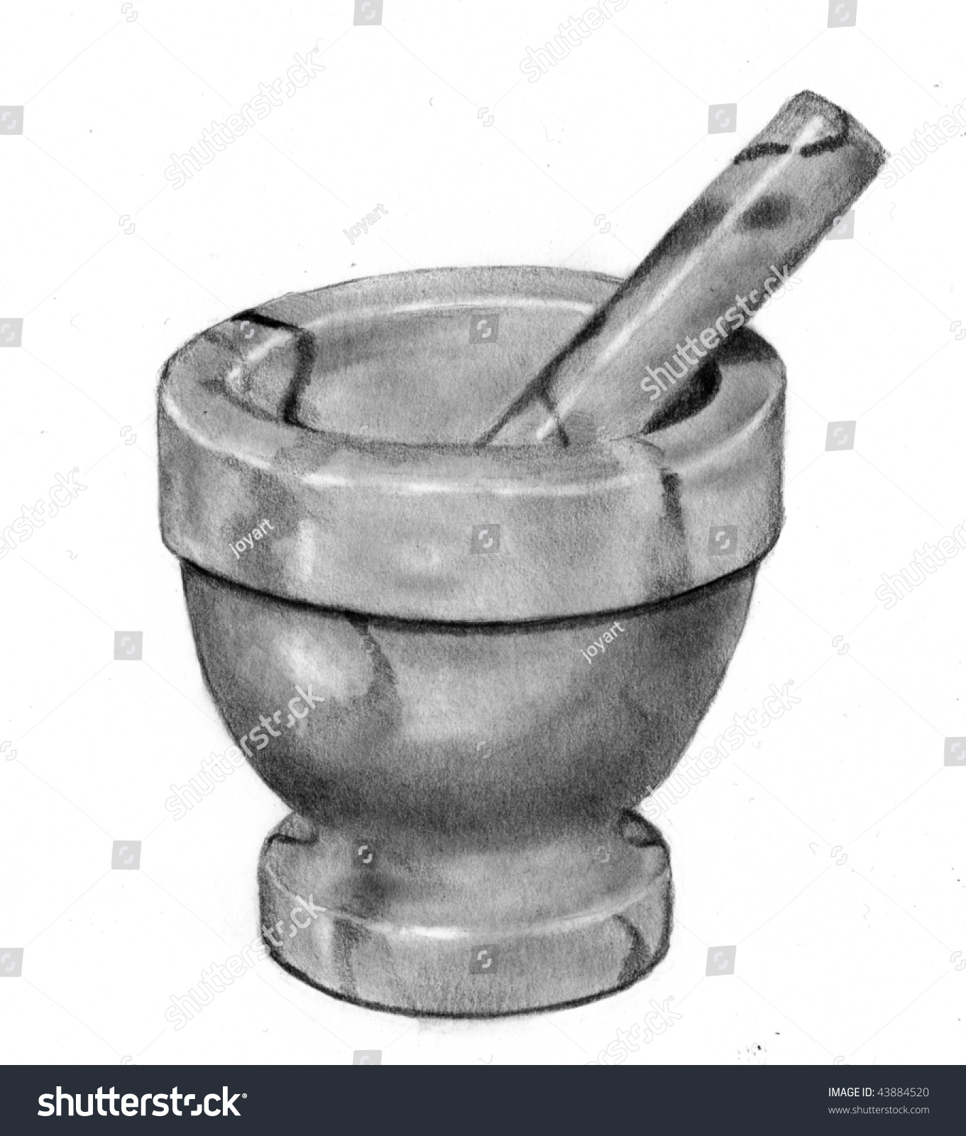 Pencil Drawing Mortar Pestle No 2 Stock Illustration 43884520 ... for Mortar And Pestle Drawing  45hul
