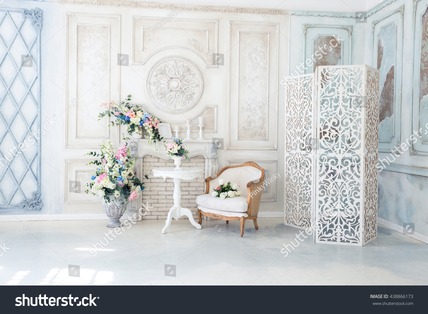 Bright Luxury White Blue Colored Interior Stock Photo (Royalty Free ...