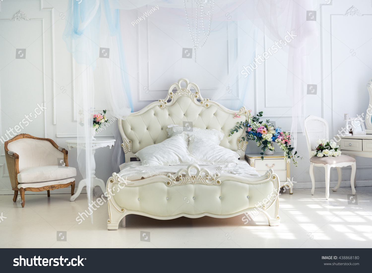 Remarkable Beautiful White Bright Clean Interior Stock Photo 438868180 Home Interior And Landscaping Eliaenasavecom