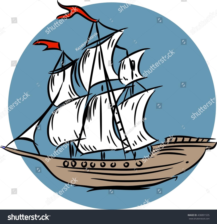 Sketch Sailing Ship Stock Vector Royalty Free Shutterstock