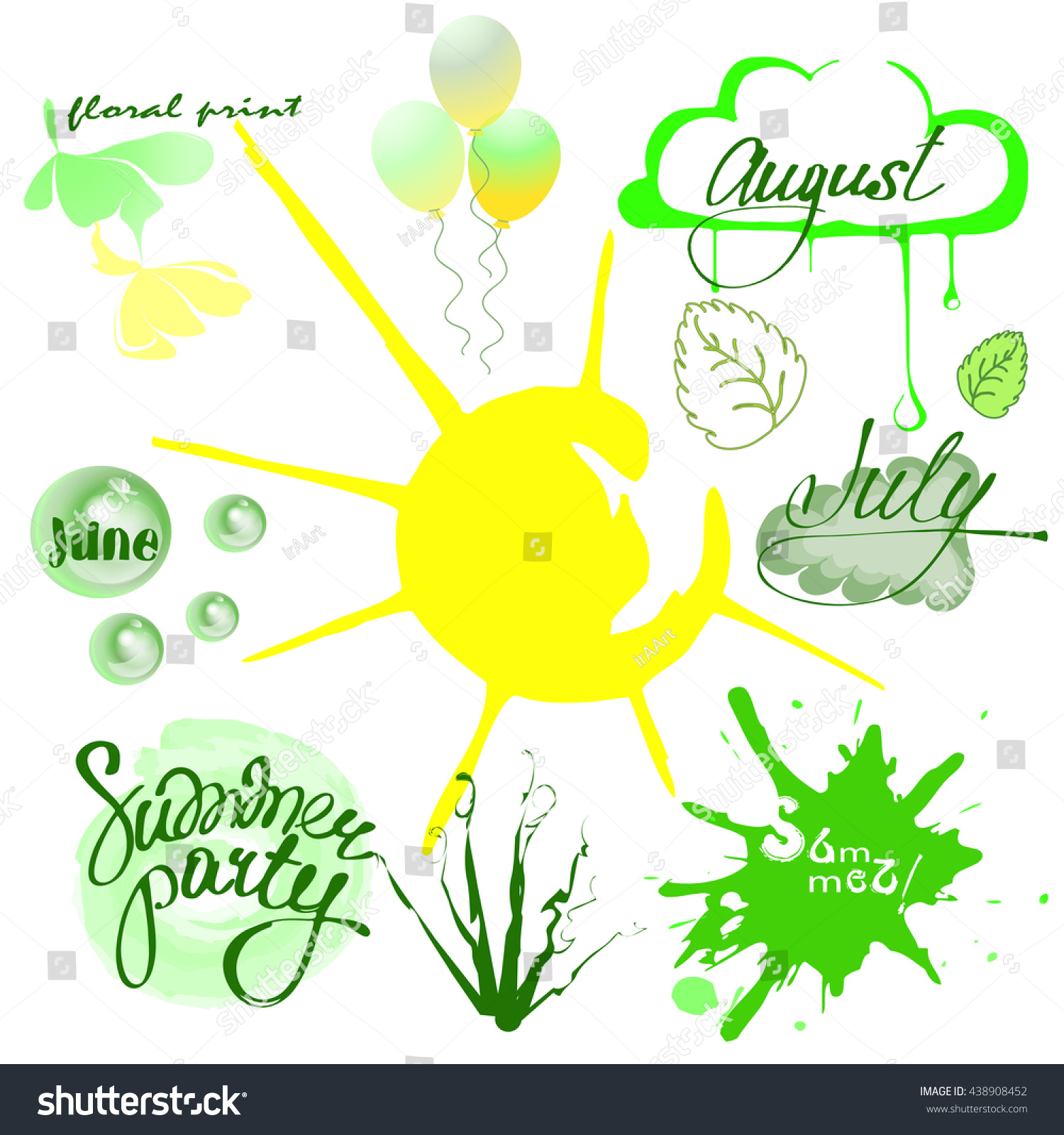 Set summer time june july august stock vector 438908452 shutterstock june july and august design elements for summer design themes buycottarizona Image collections