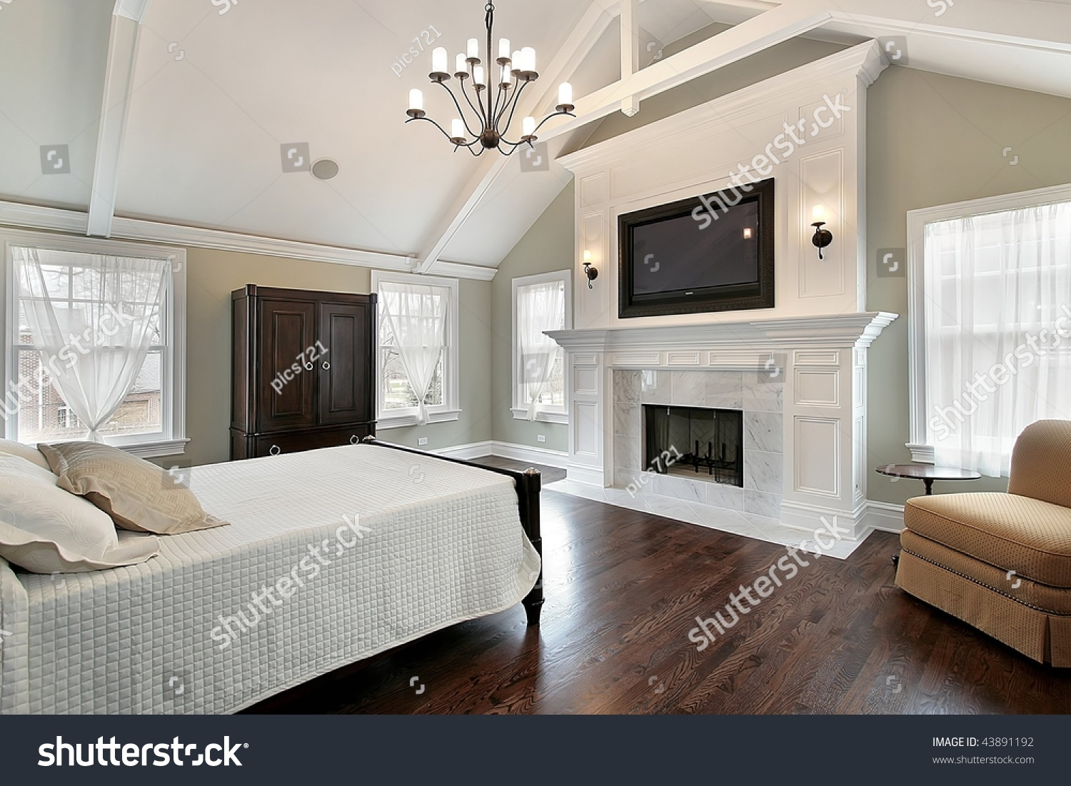 Luxury Master Bedroom With Fireplace Stock Photo 43891192 Shutterstock