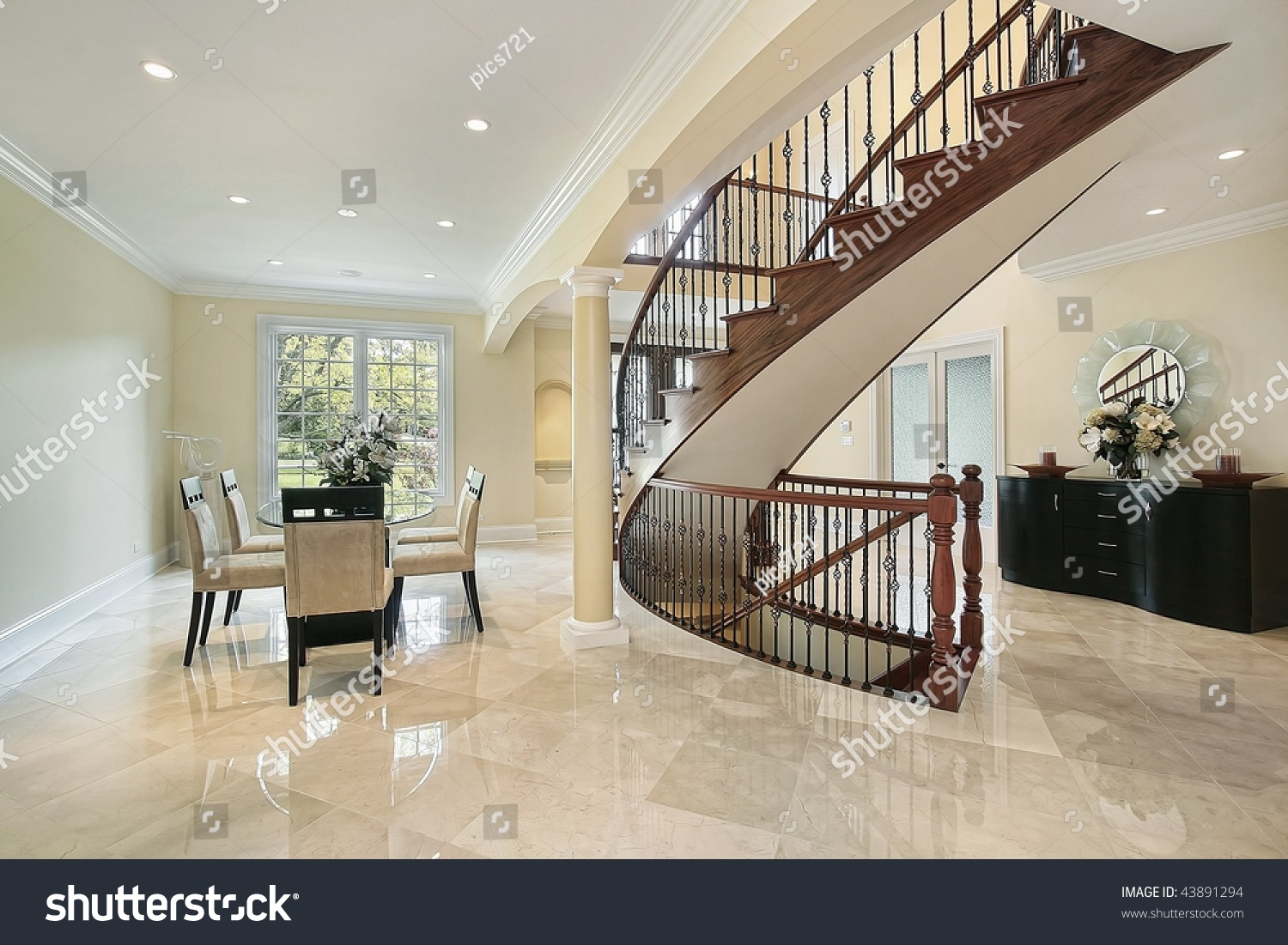 Foyer Open To Dining Room : Foyer with open dining room area stock photo