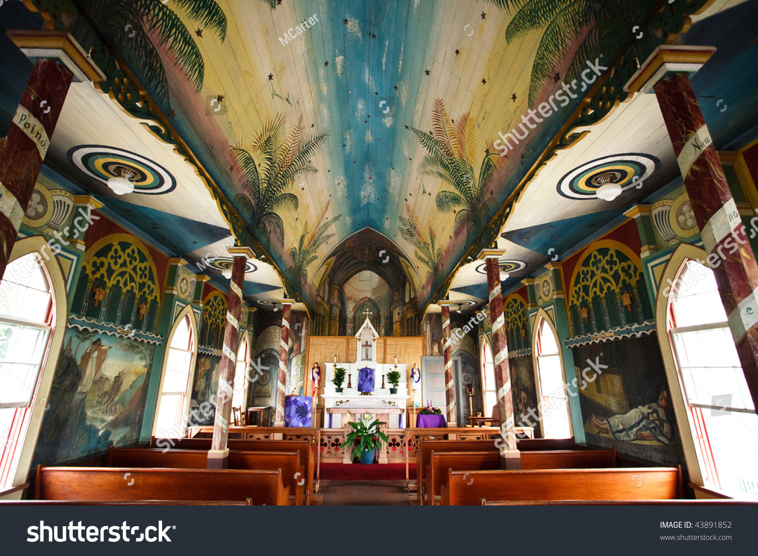 Inside Of The Painted Church On Big Island In Hawaii