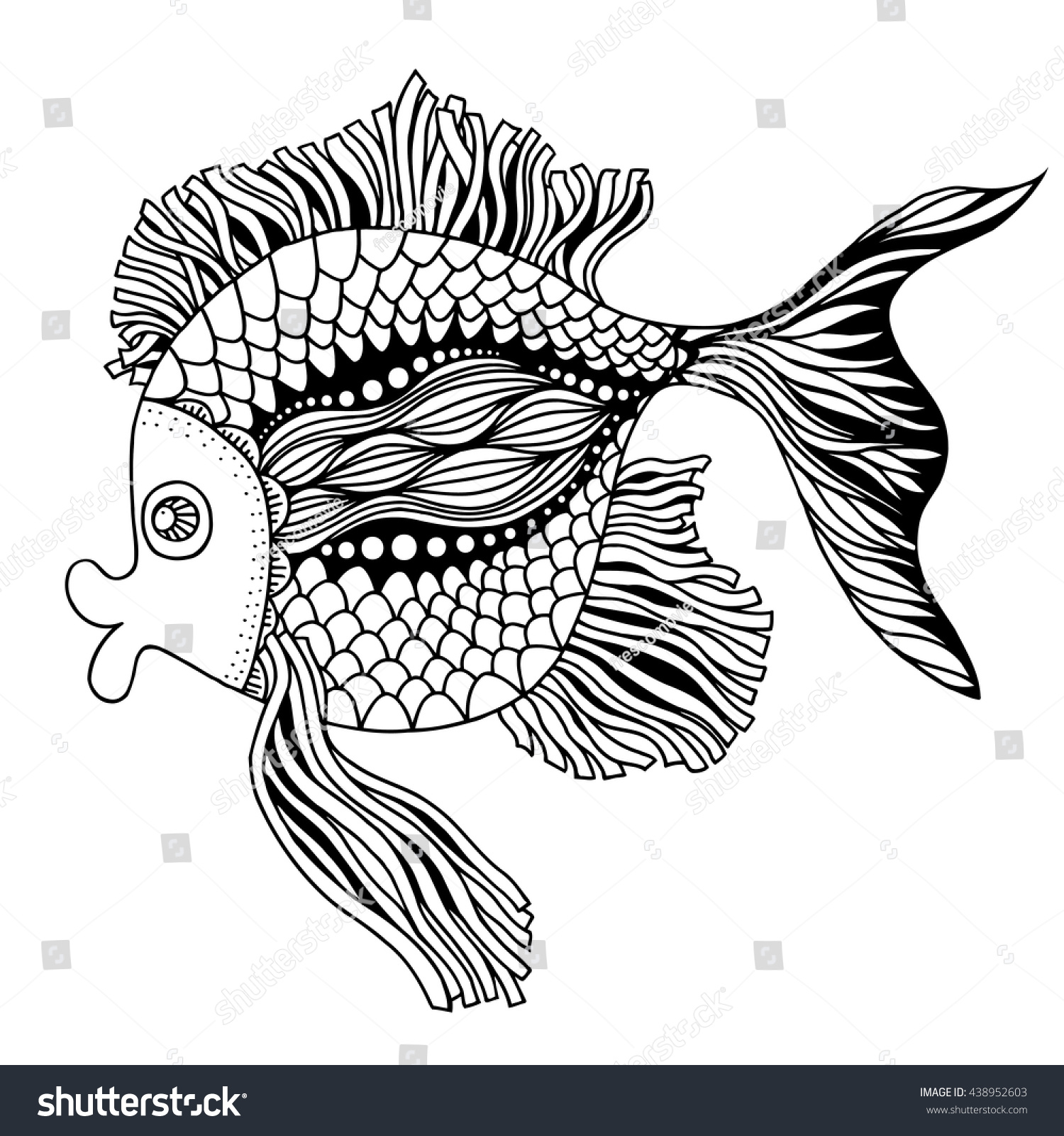 - Vector Hand Drawn Doodle Outline Fish Stock Vector (Royalty Free