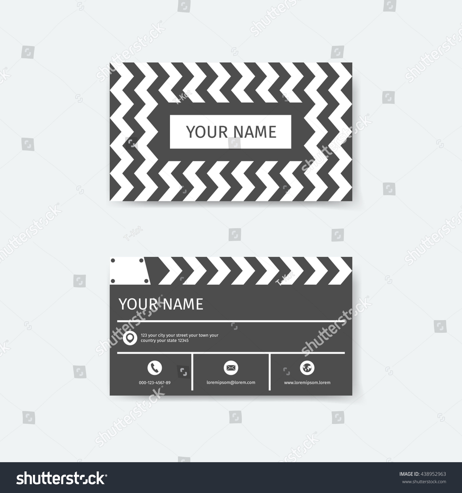 Business Card Design Template Clapboard Film Stock Vector 438952963 ...