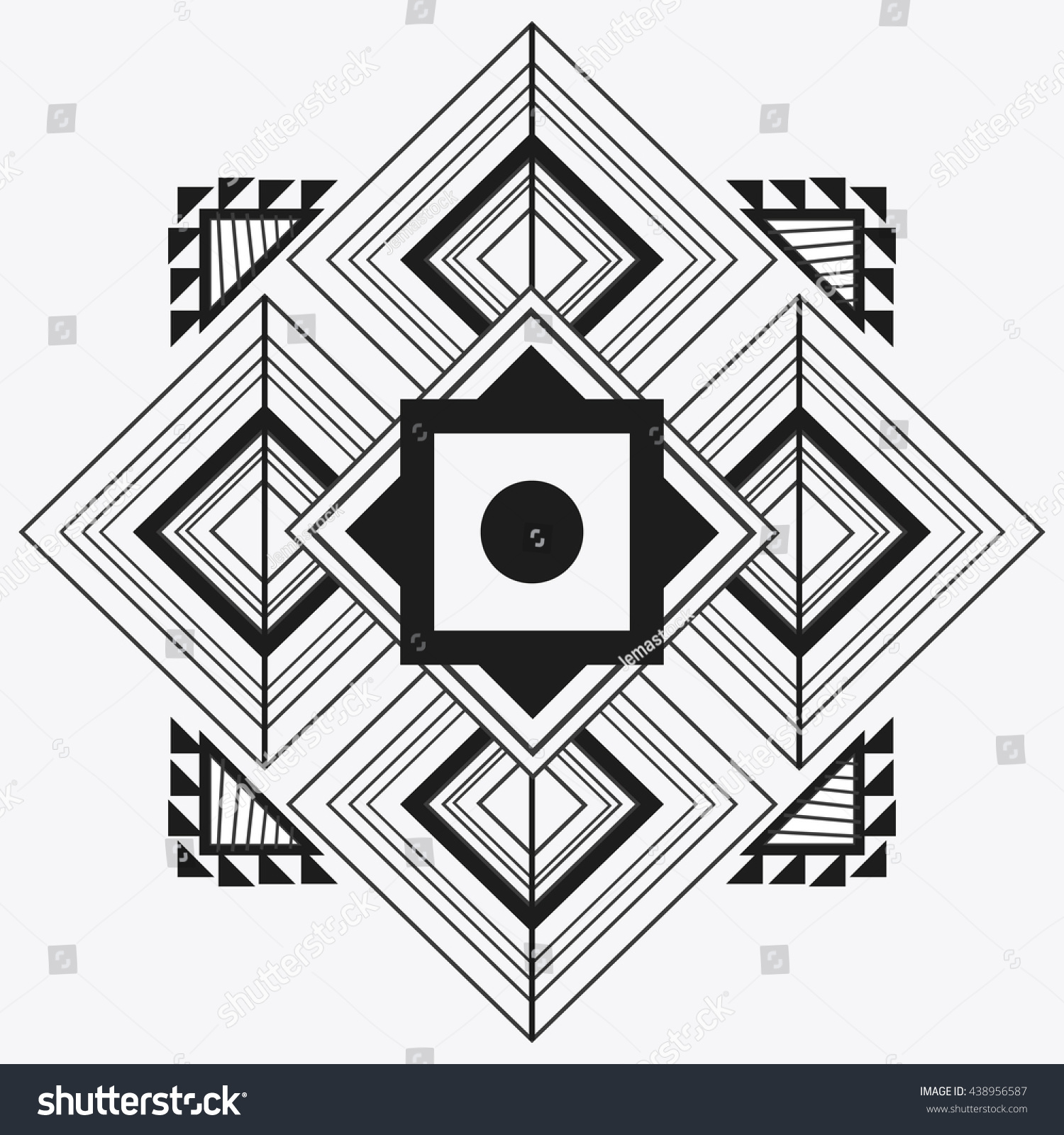 Tribal Design Black White Abstract Figure Stock Vector 438956587 Shutterstock