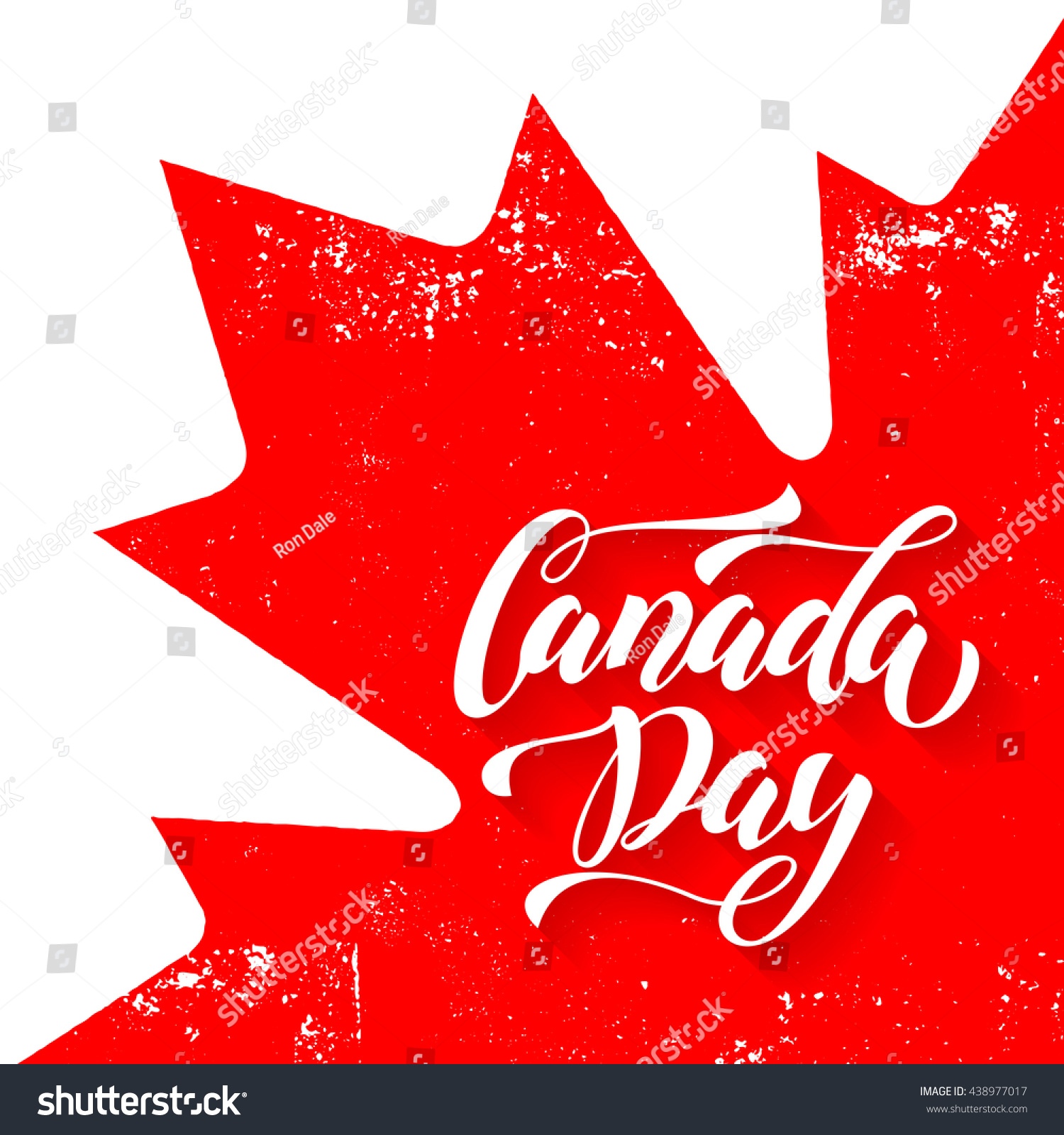 canadian flag red maple leaf greeting stock vector 438977017