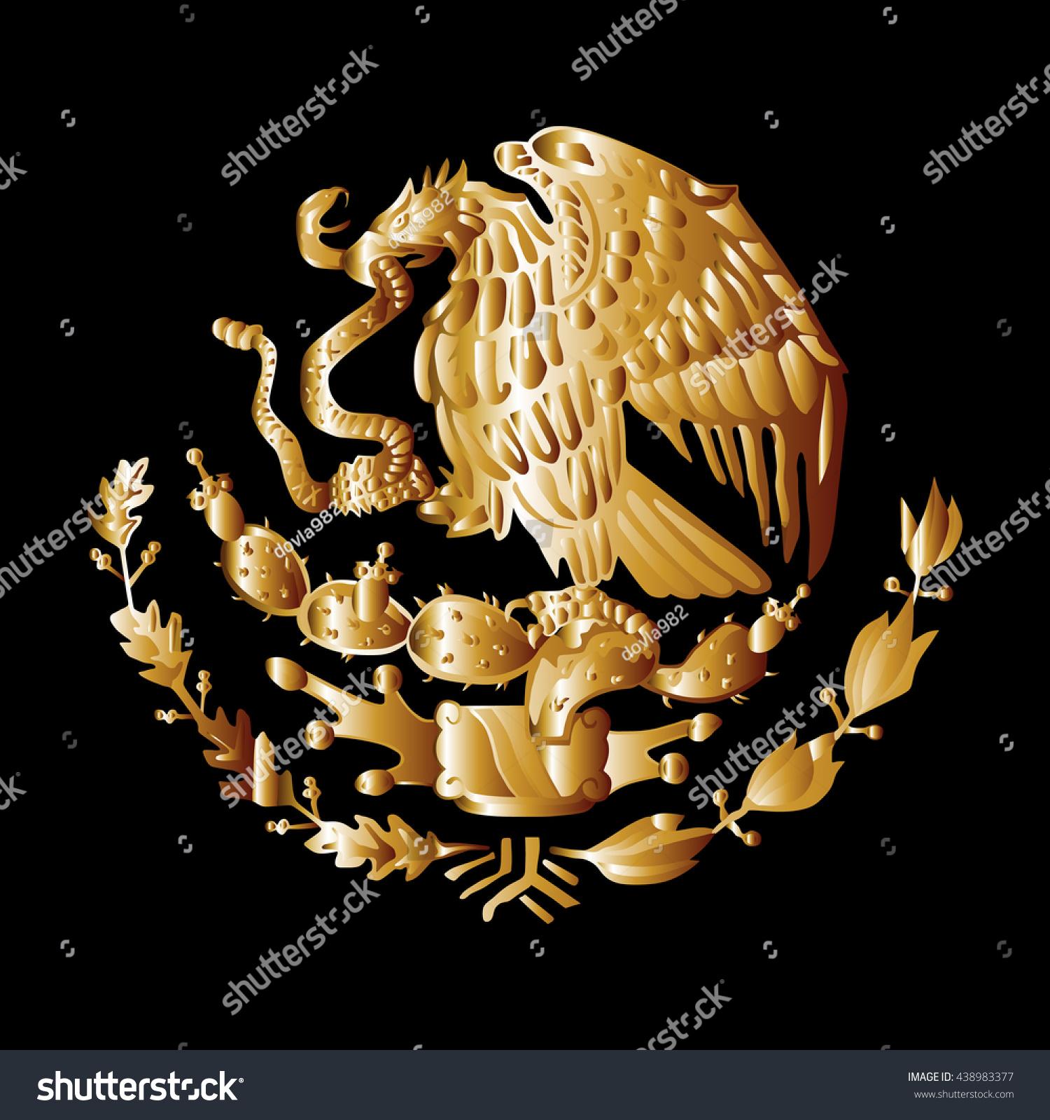 mexico coat arms seal national emblem stock vector 438983377