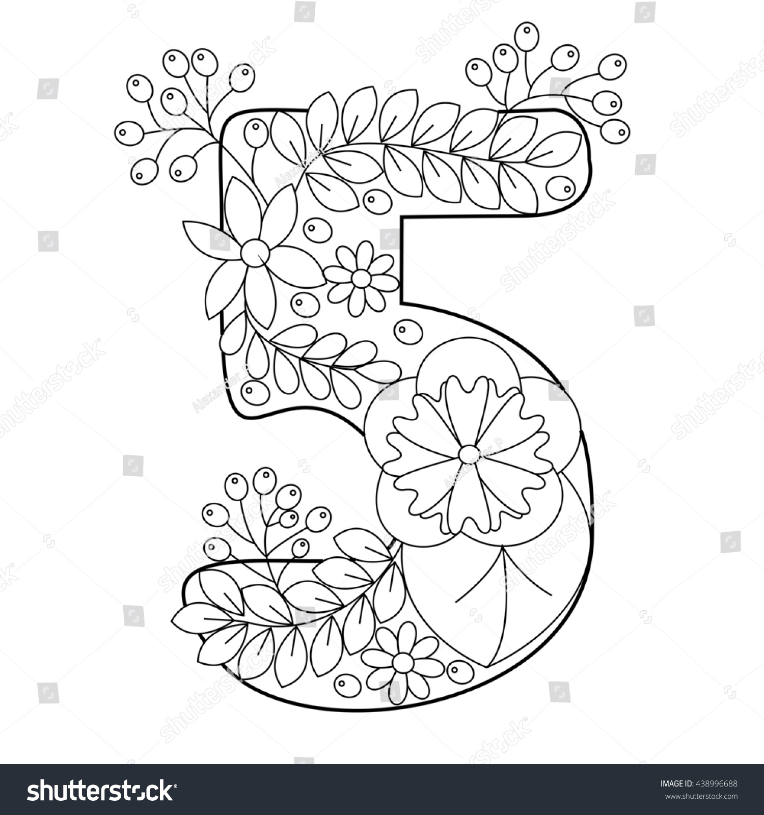 Floral Alphabet Number Coloring Book For Adults Raster