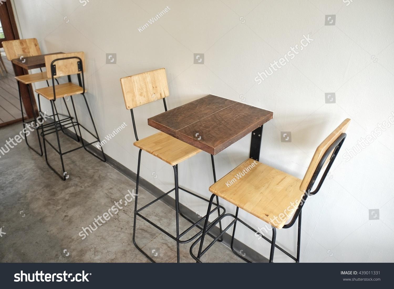 minimal cafe design interior table chair stock photo 439011331