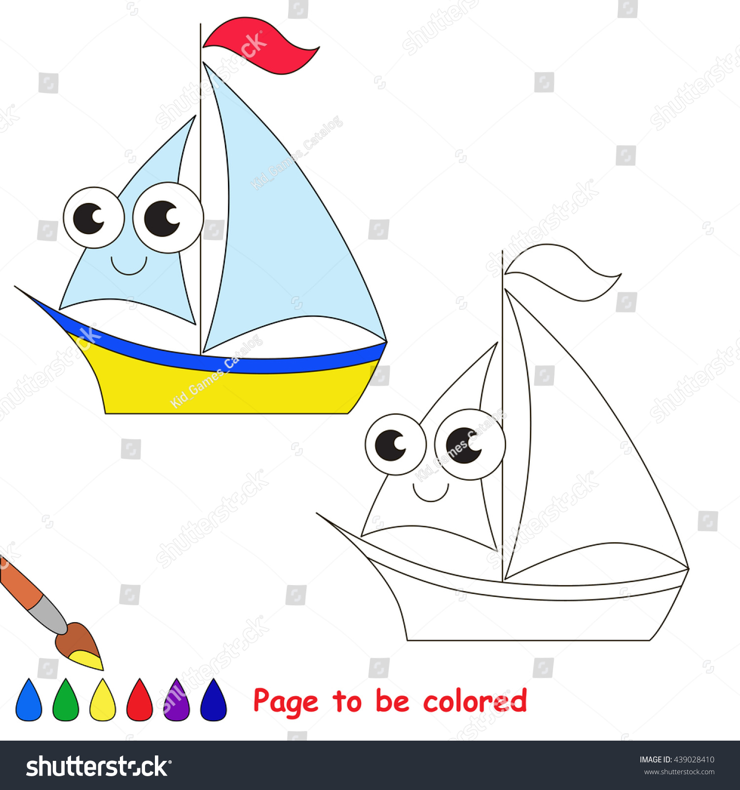 Yellow Boat Be Colored Coloring Book Stock Photo (Photo, Vector ...