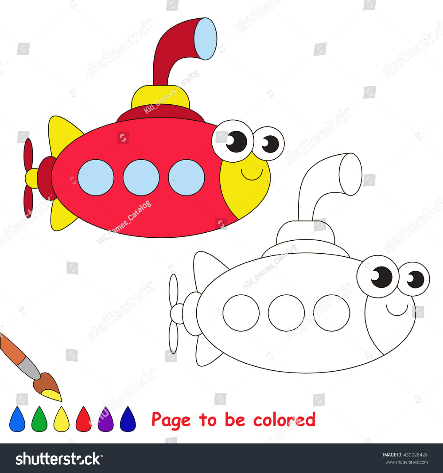 Red Submarine Be Colored Coloring Book Stock Vector HD (Royalty Free ...
