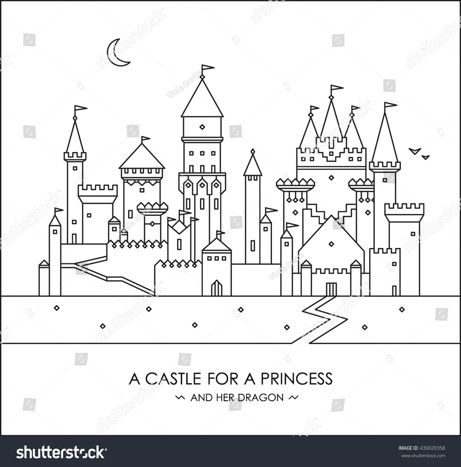 fairytale story kids girls magic castle stock vector 439029358