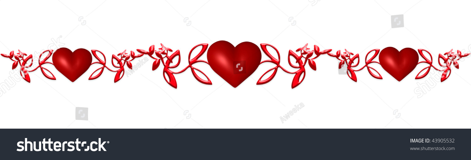 Decorative Seamless String Hearts 3d Render Stock Photo